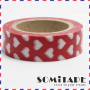 White Hearts On Red Washi Tape, Craft Decorative Tape