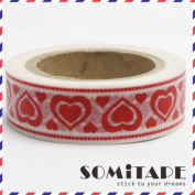 Red Hearts Washi Tape, Craft Decorative Tape