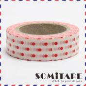 Red Polkadot On White Washi Tape, Craft Decorative Tape