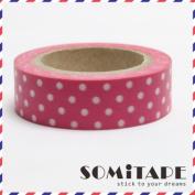 Bright Pink With White Polkadot Washi Tape, Craft Decorative Tape