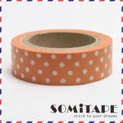 Orange With White Polkadot Washi Tape, Craft Decorative Tape