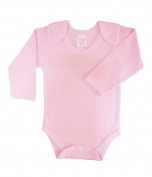 BabywearUK Body Vest Env Neck Long Sleeved - Pink - 6-12 months - British Made