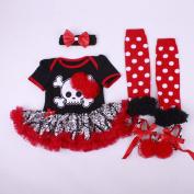 Marlegard® Baby Girls' 4PCs Halloween Red Skull Dress Headband Shoes Leg Warmers