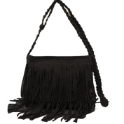 Hrph Fashion Women's Suede Weave Tassel Shoulder Bag Messenger Bag Fringe Handbags
