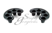 Simply Gorgeous 2 X Black Curved Soak Off Tray - Manicure, Removing Nail Extensions