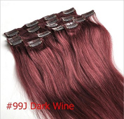 Clip in Human Hair Extensions 100% Remy 99# dark red wine burgundy 50cm 7Pcs 70g(Advise to buy 2-5 sets)