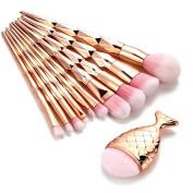 11PCS Mermaid Makeup Brush Mingfa.y Fish Scale Fishtail Bottom Brush Powder Blush Makeup Cosmetic Brushes-Gold