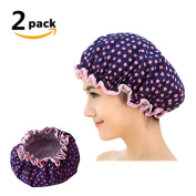 2PCS Novelty Waterproof Bath Shower Cap Polka Dot Printed Double Layer Style