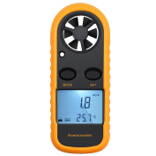 Neoteck Anemometer Digital LCD Wind Speed Metre Gauge Air Flow Velocity Measurement Thermometer with Backlight for Windsurfing Kite Flying Sailing Surfing Fishing