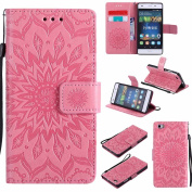 P8 Lite Leather case, Dfly Premium PU Leather Embossed Mandala Design, with Invisible Strong Magnetic Slim Flip Cover Protective Wallet Case for Huawei P8 Lite, Pink