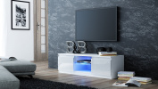 White Gloss TV Cabinet with LED blue lights - for 32 inch to 50 inch LED LCD 3D smart television screens - 1200mm wide - Gloss Black unit with Doors.UK mainland only delivery.