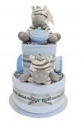 Stunning 2 Tier Deluxe New Baby Boys Blue Zebra Nappy Cake Baby Shower Gift - FAST & FREE UK Delivery!