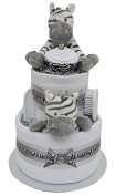 Stunning 2 Tier Deluxe Zebra Themed New Baby Nappy Cake Baby Shower Gift - FAST & FREE UK Delivery!