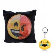 "MAXGOODS Emoji Pillow 16""x16""/ 40cm x 40cm Magic Reversible Sequin Pillow moticon Cute Soft Stuffed Comfortable Plush with Free Keychain"