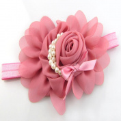 Viskey Lovely Cotton Girls Baby Headbands,Pearl,hot pink