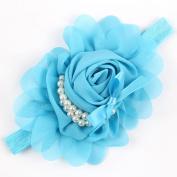 Viskey Lovely Cotton Girls Baby Headbands,Pearl,blue