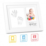 Hand Footprint Photo Frame, multifun DIY Baby Keepsake Picture Frame Kit for Newborn Boys and Girls, Perfect Baby Shower Gifts for Registry, Memorable Clay Casting Kit Decor for Room Wall or Table