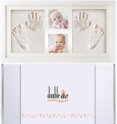 Doubleme Baby Handprint and Footprint Picture Frame Kit, 2 photos and 2 prints, Memorable Keepsakes for Newborn and Twins, Baby Shower Gifts, Wood Frame with Safe Clay, White