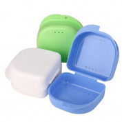 Wanshop Denture Bath - Storage Container for Soaking Dentures, Retainers & other Dental Appliances False Teeth Box Storage Case Rinsing Basket