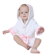 Mainaisi Baby Hooded Bathrobe Towels Cotton Cartoon Animal Wrap for Infant 0-3years