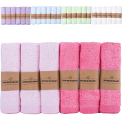 Storeofbaby Baby Girl Pink Washcloths Bamboo Organic Towels for Baby & Women Newborn Baby Washcloths Soft Absorbent Wipes Pink Rose Pack of 6 25cm x 25cm