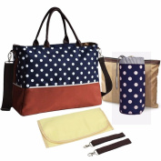 Kangming Baby Nappy Nappy Changing Bag Set Large Capacity Mummy Tote Bag with Changing Mat Bottle Holder