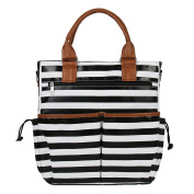 Baby Nappy Nappy Changing Bag Set Stripe Travel Mummy Tote Shoulder Bag with Changing Mat (Black