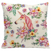 Gluckliy Beautiful Unicorn Flower Print Cotton Linen Throw Pillow Cases Cushion Cover Home Bedroom Sofa Decor