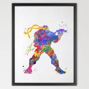 Dignovel Studios A4 Michalengelo Teenage Mutant Ninja Turtles Inspired watercolour Painting Art Print Wall Art Poster Giclee Wall Decor Art Home Décor N065-Unframed