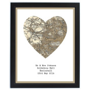 1896 1904 Revised Map Heart Framed Print Gifts, and, Cards Birthday, Gift, Idea Occasion, Gift, Idea Personalised