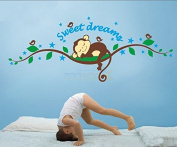 Zooarts Sweet Dreams Monkeys On Branches Sleep Removable Wall Stickers Vinyl Decals Art Decor Kids Children Mural