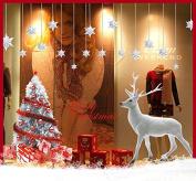 ZuoLan PVC Stickers Christmas Xmas Snowflake Shop Window Glass Stickers DIY Decorative House Window Shop Store