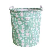 Wanshop 44 * 35cm(42L) Large Sized Waterproof Canvas Laundry Fabric Folding Laundry Hamper Bucket Cylindric Burlap Canvas Storage Basket