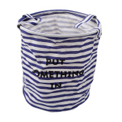 LnLyin Foldable Laundry Basket Dirty Clothes Hamper Folding Children Toys Organiser Storage Basket Tidy Clothes Holder with Lids,Blue and white stripes
