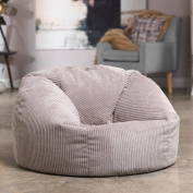 Luxury Jumbo Cord Bean Bag Snuggle Chair – NATURAL STONE – Giant Luxury Beanbag Lounger Seat in Plush Retro Corduroy Fabric – Extra Large Bean Bags