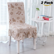 2 Pack Chair Slipcovers, Rosa Schleife Elastic Stretch Removable Washable Dining Chair Cover Protector Seat Cover Slipcover for Hotel Party Hotel Banquet Dining Room Ceremony