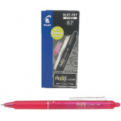 Pilot Frixion Clicker Retractable Erasable Rollerball 0.7 mm Tip - Pink, Box of 12