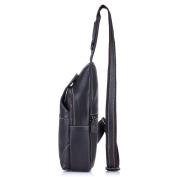 Men Genuine Leather Chest Bag ,Charminer Crossbody Shoulder Bag Sling Bags Backpack Messenger Bag Daypack For Business Casual Sport Hiking Travel Black