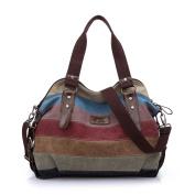 WAWJ Multi-colour Buckle and Striped Large Hobo Bags Ladies Canvas Tote Travel Messenger Bag Shoulder Handbag