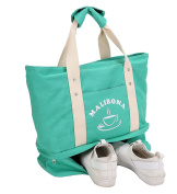 Malirona Large Travel Tote Bag 2-in-1 Beach Tote Bag with Shoes Organiser Canvas Beach Bag