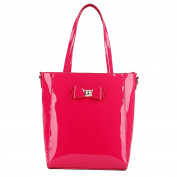 Miss Lulu Ladies Designer Patent PVC Bow Tote Bag Shoulder Shopper Handbag
