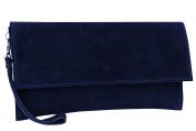 AMBRA Moda Women's genuine suede Clutch Handbag suede leather bag WL811