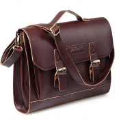 Jakago 12 13.3 33cm Vintage Women's Mens Leather Satchel Laptop Briefcase Messenger Shoulder Bag Brown