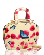 LeahWard® Women's Patent Faux Leather Poppy Flower Bags Poppies Butterfly Handbag Shoulder Bags For Women School Work College