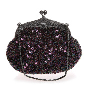 Women Evening Clutches Fully Sequined Mesh Beaded Antique Style Wedding Formal Cocktail Clutch Purse