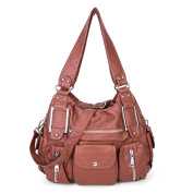 Washed Leather Tote Bag Soft Cross Body Handbag Large Capacity for Ladies Girls - Brown