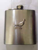 Pigeon PP-B04 English Pewter Emblem on a 180ml Stainless Steel Hip Flask with Captive Top