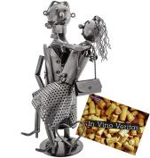 "BRUBAKER Wine Bottle Holder ""Lovers"" Metal Sculpture Gift - With Greeting Card"