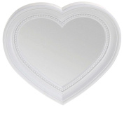 Heart Shaped Wall Hanging Mirror, White 35cm