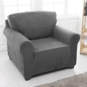Sofa Cover 1 Seater Slipcover Stretch Elastic Fabric Sofa Protector Slip Cover Grey